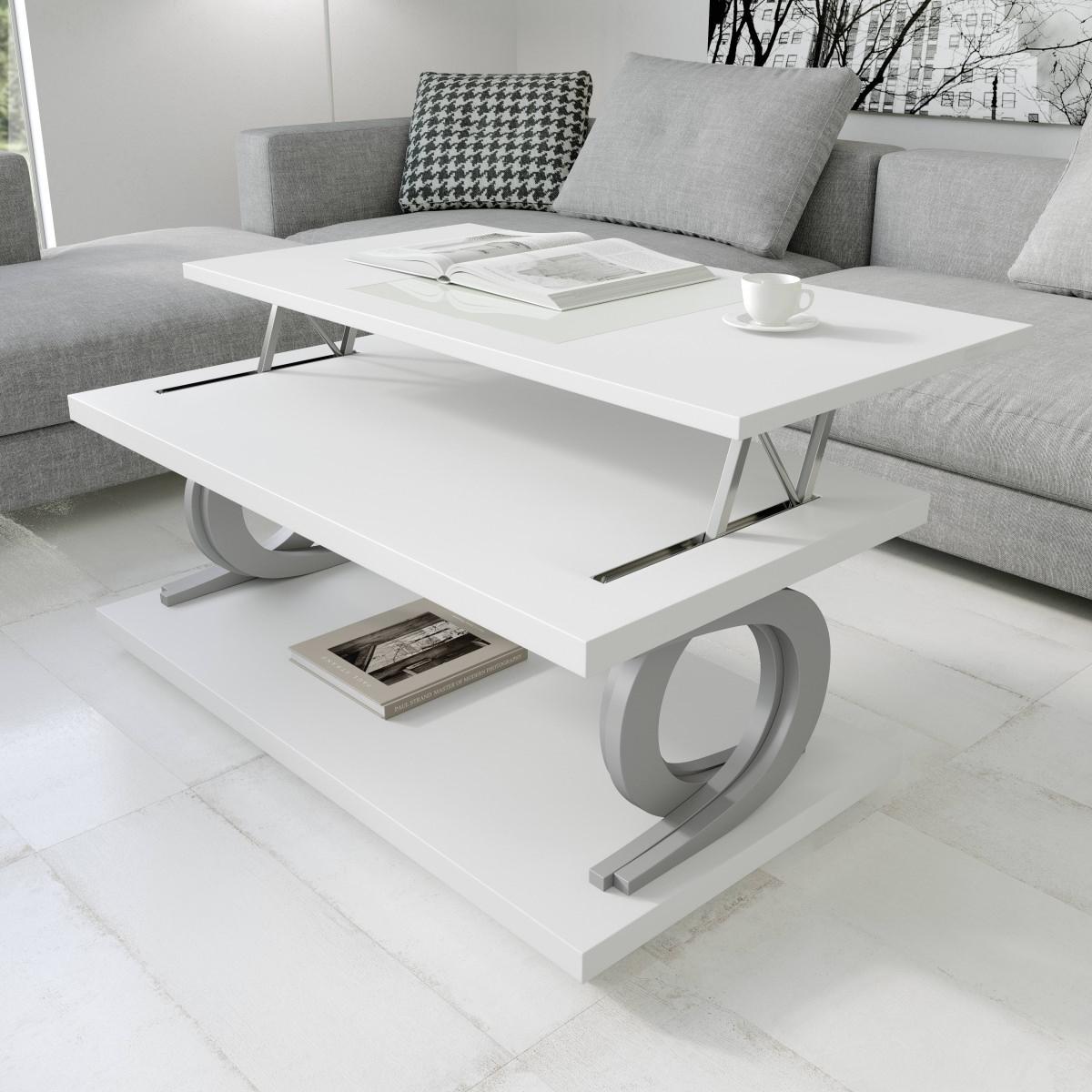 Журнальный стол NORA 2057 Blanco/Plata Disemobel