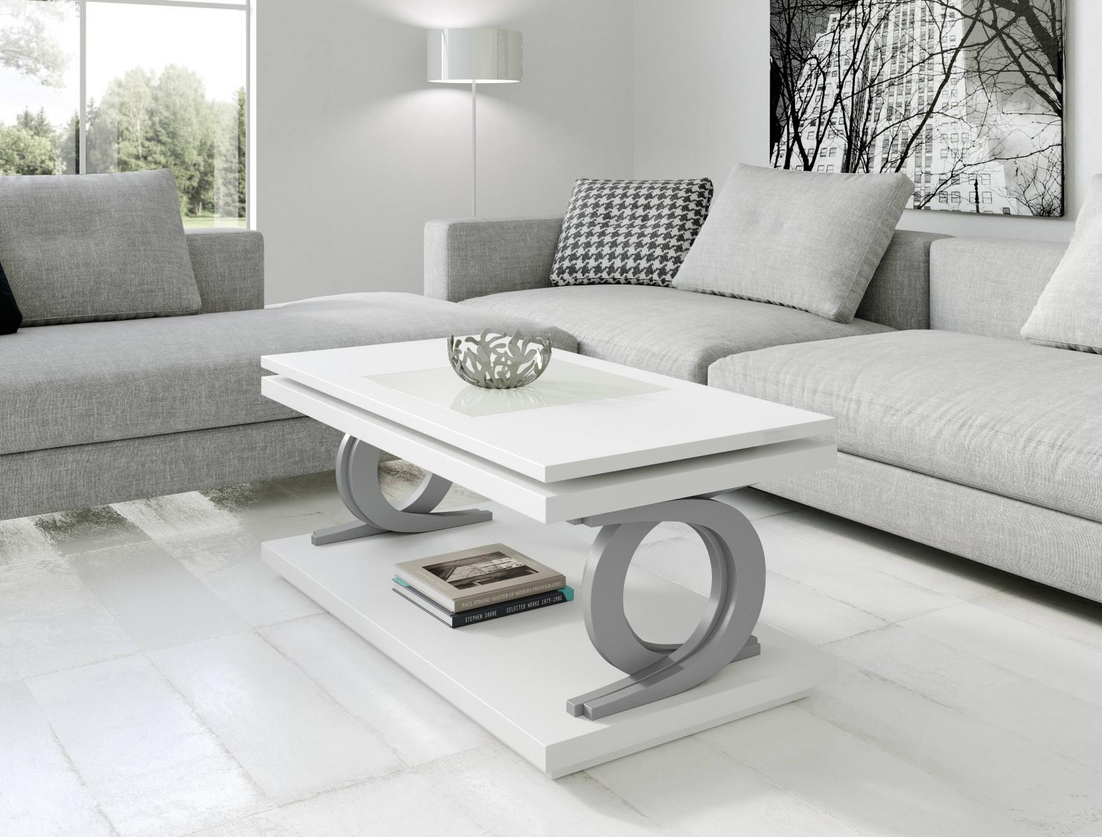 Журнальный стол NORA 2062 Blanco/Plata Disemobel